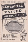 MANCHESTER UNITED Programme for the away League fixture, Pre-Munich v. Newcastle United 23/11/1957