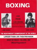 LARRY HOLMES V GERRY COONEY 1982 U.K. closed circuit TV programme for the fight in Las Vegas 11/6/