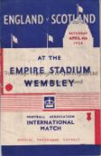 ENGLAND V SCOTLAND 1936 Programme for the International at Wembley, staples rusted away, scores