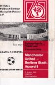 MAN UNITED Away programme v Berlin Select XI Friendly match 5/8/1972. No writing. Fair to