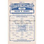 SHEFFIELD WEDNESDAY Ex-binder home programmes for the Reserve team match v. Bolton Wanderers 8/4/