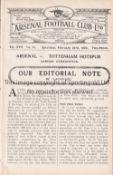 ARSENAL Home programme for the London Combination match v Tottenham Hotspur 23/2/1929, ex-binder