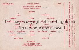MANCHESTER UNITED V MANCHESTER CITY 1949 Single sheet programme for the Manchester Cup tie at United
