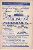 GILLINGHAM LEAGUE RETURN SEASON 1950/1 Home programme v Nottingham Forest 7/4/1951. Good