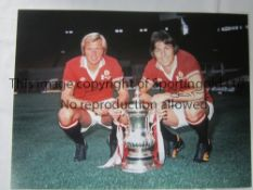 MAN UNITED Autographed 16 x 12 photo of Stuart Pearson and Jimmy Greenhoff posing with the FA Cup