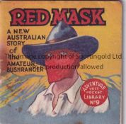 ADVENTURE MAGAZINE BOOKLET 1939 Adventure Vest Pocket Library no. 9, Red Mask, staple rusted away.
