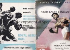BOXING AT THE ROYAL ALBERT HALL Fourteen programmes 1953 - 1989 including 6/10/1953 slightly creased
