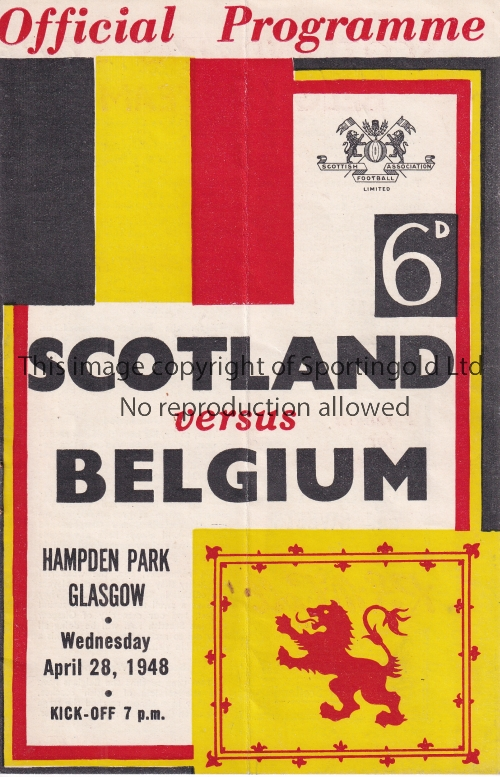 SCOTLAND Programme for the home match v Belgium at Hampden Park 28/4/1948. Light vertical fold