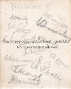 YORKSHIRE CCC AUTOGRAPHS 1920'S Album sheet signed by 12 players from the late 1920's including