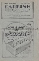 BARKING V REDHILL 1948 Programme for the Athenian League match at Barking 27/3/1948, horizontal