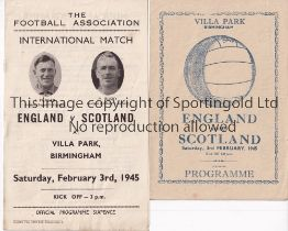 ENGLAND V SCOTLAND 1945 Two programmes for the International at Aston Villa FC 3/2/1945 and pirate