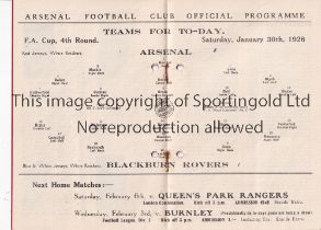 ARSENAL V BLACKBURN ROVERS 1926 FA CUP Programme for the tie at Arsenal 30/1/1926, 2 punched holes
