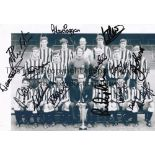 """NEWCASTLE UNITED 1969 AUTOGRAPHS An 11.5"""" X 8.5"""" BW team group for 1969/70 season with the Fairs Cup"""