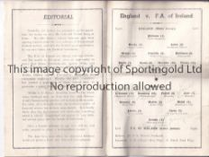 ENGLAND V REPUBLIC OF IRELAND 1949 / AUTOGRAPHS Programme for the International at Everton FC 21/9/
