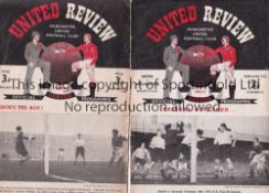 MANCHESTER UNITED Two home programmes v. Portsmouth 49/50 Championship season, slightly worn and