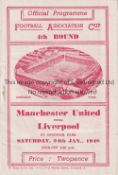 MANCHESTER UNITED V LIVERPOOL AT EVERTON 1948 Programme for the home FA Cup tie for Manchester