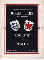 ENGLAND V WALES 1950 Programme for the International at Sunderland FC 15/11/1950, slight vertical