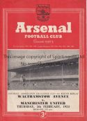 WALTHAMSTOW V MANCHESTER UNITED AT ARSENAL 1953 Programme for the FA Cup 4th Round Replay at