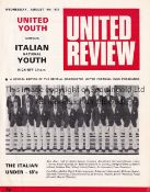MANCHESTER UNITED Home programme for the Friendly v. Italian Youth 9/8/1972. Good