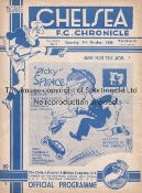 CHELSEA V ARSENAL 1939 Programme at Chelsea 7/10/1939. 4 Page Friendly. Not Ex Bound Volume. No