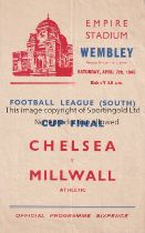 1945 FL SOUTH WAR CUP FINAL / CHELSEA V MILLWALL Programme for the match at Wembley 7/4/1945, slight