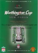 2003 LEAGUE CUP FINAL Scarce edition for Liverpool v Manchester United. The programme was issued