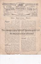 ARSENAL Home programme for the League match v Tottenham Hotspur 17/11/1923, horizontal fold, wear at