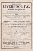 LIVERPOOL Single sheet home programme v. Manchester United FL North 4/11/1944, very slightly