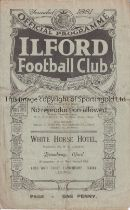 AT ILFORD FC : S.E. CHAMPIONSHIP SEMI-FINAL 1922 Four page programme for Essex v Wiltshire 24/4/