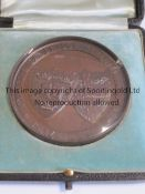"""KENNETH POWELL MEDAL / CAMBRIDGE UNIVERSITY 1905 Boxed round glass covered 2.5"""" medal 120 Yards"""