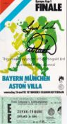 1982 EUROPEAN CUP FINAL / ASTON VILLA V BAYERN MUNICH Official UEFA programme and ticket for the