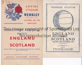 ENGLAND V SCOTLAND 1944 Two programmes for the International at Wembley 14/10/1944 very slight