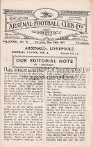 ARSENAL Home programme v. Liverpool 24/5/1947. Liverpool's penultimate match of the season. They