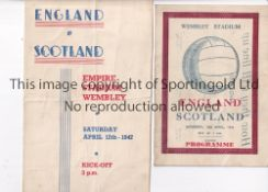 ENGLAND V SCOTLAND 1947 Two pirate issue programmes for the International at Wembley 12/4/1947,