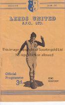 LEEDS UNITED Home programme for the League match v. Southampton 21/1/1950, slight horizontal crease.
