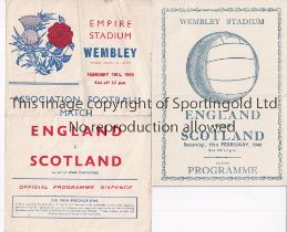 ENGLAND V SCOTLAND 1944 Two programmes for the International at Wembley 19/2/1944 folded and