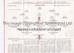 AT ARSENAL : ENGLAND V SPAIN Programme for the International at Highbury 9/12/1931, rusty staples,
