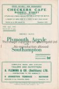 PLYMOUTH ARGYLE V SOUTHAMPTON 1952 Programme for the Friendly at Plymouth 2/2/1952. Generally good