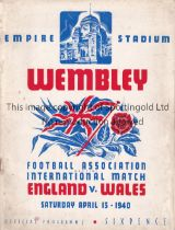 ENGLAND V WALES 1940 Programme for the International at Wembley 13/4/1940 professionally repaired to