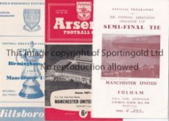 MANCHESTER UNITED Three FA Cup semi-final programmes v. Birmingham City 56/7 and Fulham 57/8 and