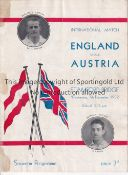 AT CHELSEA : ENGLAND V AUSTRIA Programme for the International at Stamford Bridge 7/12/1932, repairs