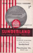MANCHESTER UNITED Programme for the away Youth Cup 4th Round 2nd Replay v Sunderland 18/2/1961. Very