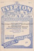 EVERTON Home programme Reserves v Manchester United Reserves 5/11/1949. 4 Page. Small split at lower