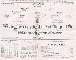 AT ARSENAL : ENGLAND V HUNGARY Programme for the International at Highbury 2/12/1936, slight