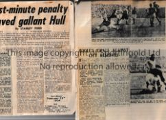 HULL CITY Two scrapbooks: 1950/1 and 1954. Both include newspaper match reports, articles and