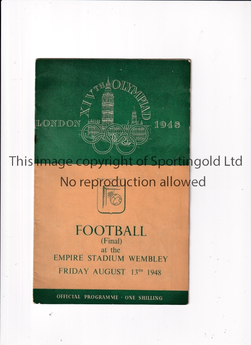 1948 OLYMPICS LONDON FOOTBALL FINAL Programme for Sweden v Yugoslavia 13/8/1948 at Wembley, very