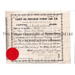CARDIFF CITY Share certificate dated 28/9/1910 for 2 ordinary shares of 10/- each in the name of