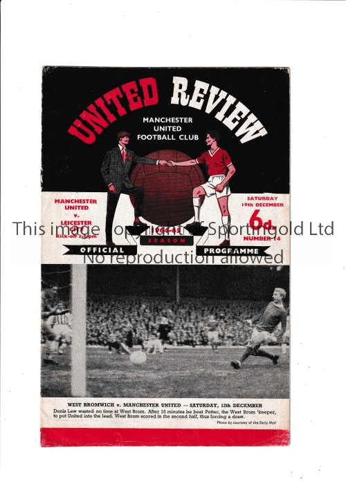 MANCHESTER UNITED V LEICESTER CITY 1964 POSTPONED Programme for the scheduled match 19/12/1964.