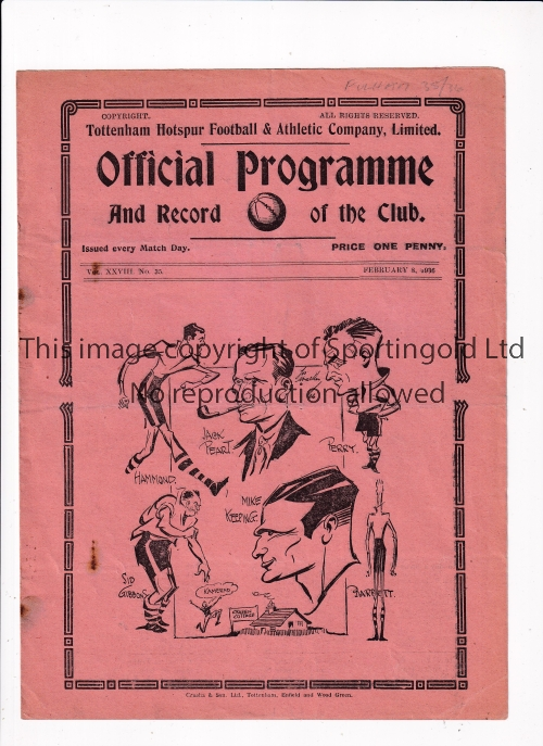 TOTTENHAM Home programme v Fulham 8/2/1936. Some light foxing. No writing. Fair to generally good