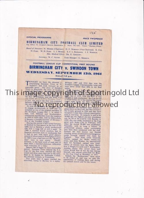BIRMINGHAM CITY V SWINDON TOWN 1961 Four page programme for the League Cup tie at Birmingham 13/9/